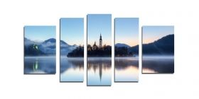 Glass Wall Art The island on the lake, Glowing in the dark, Set of 5, 90 x 180 cm (1 panel 30 x 90 cm, 2 panels 30 x 80 cm, 2 panels 40 x 60 cm)