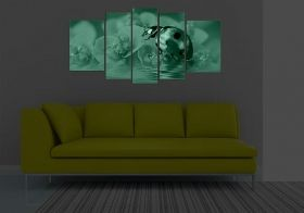 Glass Wall Art Ladybug, Glowing in the dark, Set of 5, 90 x 180 cm (1 panel 30 x 90 cm, 2 panels 30 x 80 cm, 2 panels 40 x 60 cm)
