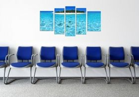 Glass Wall Art Island, Glowing in the dark, Set of 5, 90 x 180 cm (1 panel 30 x 90 cm, 2 panels 30 x 80 cm, 2 panels 40 x 60 cm)