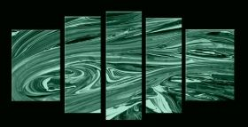 Glass Wall Art Waves, Glowing in the dark, Set of 5, 90 x 180 cm (1 panel 30 x 90 cm, 2 panels 30 x 80 cm, 2 panels 40 x 60 cm)