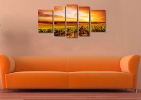Glass Wall Art Vineyard, Glowing in the dark, Set of 5, 90 x 180 cm (1 panel 30 x 90 cm, 2 panels 30 x 80 cm, 2 panels 40 x 60 cm)