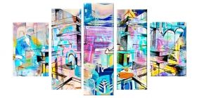 Glass Wall Art Abstract, Glowing in the dark, Set of 5, 90 x 180 cm (1 panel 30 x 90 cm, 2 panels 30 x 80 cm, 2 panels 40 x 60 cm)