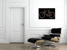 Glass Wall Art Retro Bicycle, Glowing in the dark, 60 x 90 cm