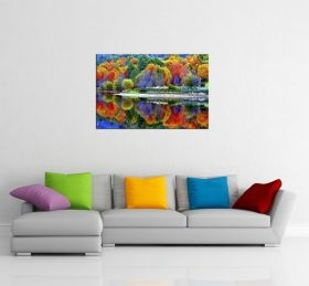 Glass Wall Art The multicolored forest, Glowing in the dark, 60 x 90 cm