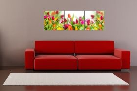 Glass Wall Art Multicolored tulips, Glowing in the dark, Set of 3, 60 x 180 cm (3 panels 60 x 60 cm)