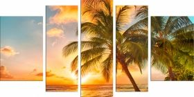 Glass Wall Art Palm, Glowing in the dark, Set of 5, 90 x 180 cm (1 panel 30 x 90 cm, 2 panels 30 x 80 cm, 2 panels 40 x 60 cm)