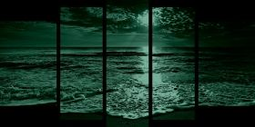 Glass Wall Art Sunset and waves, Glowing in the dark, Set of 5, 90 x 180 cm (1 panel 30 x 90 cm, 2 panels 30 x 80 cm, 2 panels 40 x 60 cm)