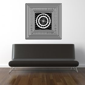 Glass Wall Art Arabic White Patterns, Glowing in the dark, 60 x 60 cm