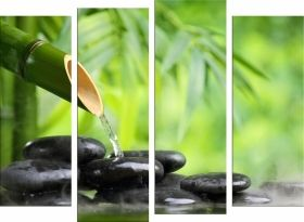 Glass Wall Art Zen and bamboo stones, Glowing in the dark, Set of 4, 100 x 120 cm (2 panels 30 x 90 cm, 2 panels 30 x 80 cm)