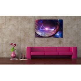 Canvas Wall Art Abstract city, Glowing in the dark, 80 x 120 cm