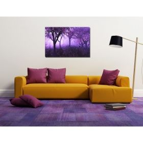 Canvas Wall Art Purple forest, Glowing in the dark, 80 x 120 cm