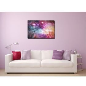 Canvas Wall Art Nebula pink, Glowing in the dark, 80 x 120 cm