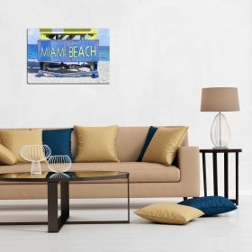 Canvas Wall Art Miami Beach, Glowing in the dark, 80 x 120 cm