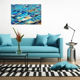 Canvas Wall Art Many boats, Glowing in the dark, 80 x 120 cm