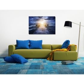 Canvas Wall Art Whirling sea, Glowing in the dark, 80 x 120 cm