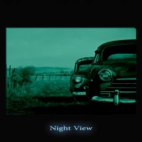 Canvas Wall Art Rusted cars, Glowing in the dark, 80 x 120 cm