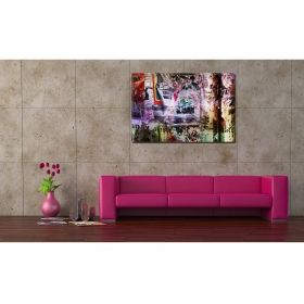 Canvas Wall Art Colorful news, Glowing in the dark, 80 x 120 cm