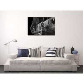 Canvas Wall Art Black and white guitar, Glowing in the dark, 80 x 120 cm