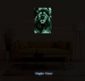 Canvas Wall Art Supreme Lion, Glowing in the dark, 80 x 120 cm