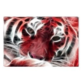 Canvas Wall Art Red tiger, Glowing in the dark, 60 x 90 cm