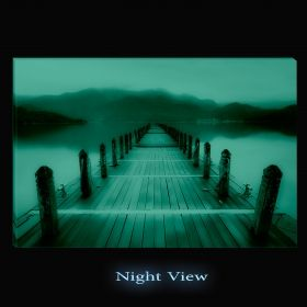 Canvas Wall Art Pontoon to the lake, Glowing in the dark, 60 x 90 cm