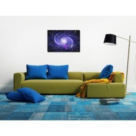 Canvas Wall Art The blue galaxy, Glowing in the dark, 60 x 90 cm