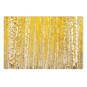 Canvas Wall Art Yellow birches, Glowing in the dark, 60 x 90 cm