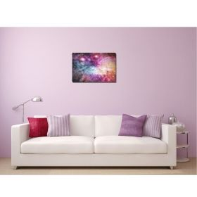 Canvas Wall Art Nebula pink, Glowing in the dark, 60 x 90 cm