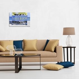 Canvas Wall Art Miami Beach, Glowing in the dark, 60 x 90 cm