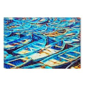 Canvas Wall Art Many boats, Glowing in the dark, 60 x 90 cm