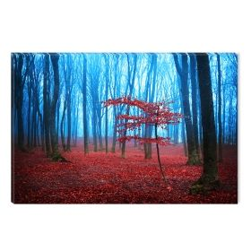 Canvas Wall Art Red Fog, Glowing in the dark, 60 x 90 cm