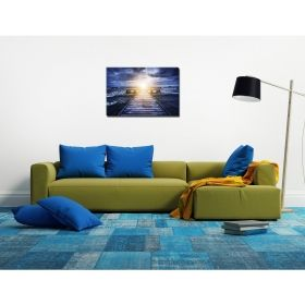 Canvas Wall Art Whirling sea, Glowing in the dark, 60 x 90 cm