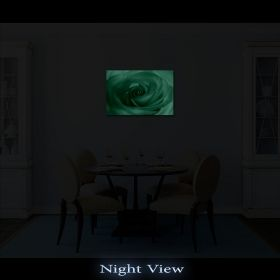 Canvas Wall Art White Rose, Glowing in the dark, 60 x 90 cm