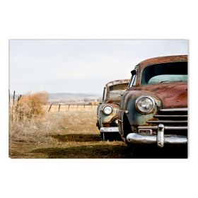 Canvas Wall Art Rusted cars, Glowing in the dark, 60 x 90 cm