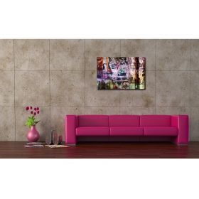 Canvas Wall Art Colorful news, Glowing in the dark, 60 x 90 cm