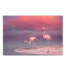Canvas Wall Art Flamingo, Glowing in the dark, 60 x 90 cm