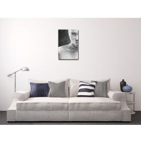 Canvas Wall Art Woman in black and white, Glowing in the dark, 60 x 90 cm