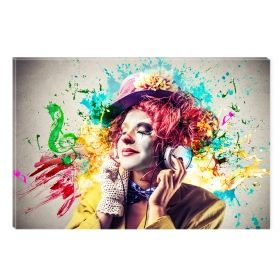 Canvas Wall Art Clown and music, Glowing in the dark, 60 x 90 cm