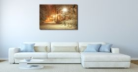 Canvas Wall Art Winter in the park, Glowing in the dark, 60 x 90 cm