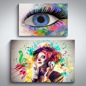 Canvas Wall Art Color of Life Clown and Woman Eye Buy one Get Two Bundle Offer