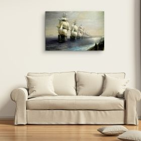 Oferta 1+1 Tablou Aivazovschy Ship On Stormy Seas 80x120 cm + Tablou Aivazovschy Parade Of The Black Sea Fleet In 1852 60x90 cm, tehnologie Eco Light