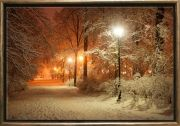 Luxury Framed Wall Art Winter in the park, Glowing in the dark, 70 x 100 cm