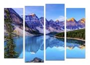 Glass Wall Art Mountain lake, Glowing in the dark, Set of 4, 100 x 120 cm (2 panels 30 x 90 cm, 2 panels 30 x 80 cm)