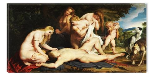Tablou Rubens Death Of Adonis With Venus, Cupid And The Three Graces 1617, luminos in intuneric, 60 x 120 cm