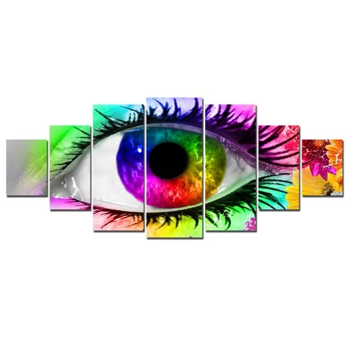 Canvas Wall Art A multicolored eye, Glowing in the dark, Set of 7, 100 x 240 cm (1 panel 40 x 100 cm, 2 panels 35 x 90 cm, 2 panels 30 x 60 cm, 2 panels 30 x 40 cm)