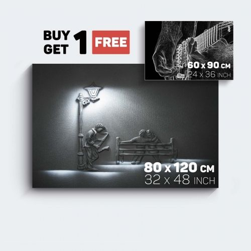 Canvas Wall Art Black and White Music Saxophone and Guitar Buy one Get Two Bundle Offer