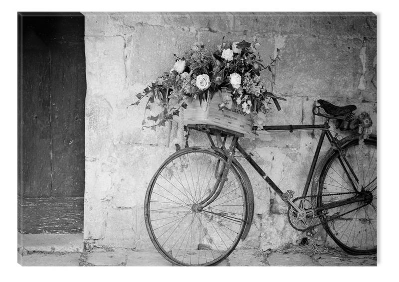 Black and White Abstract Canvas Wall Art Retro Bicycle ...