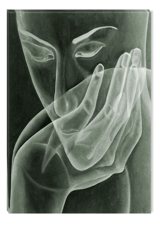 Black And White Abstract Canvas Wall Art Modern Face And Hand Eco Light 120 X 80 Cm