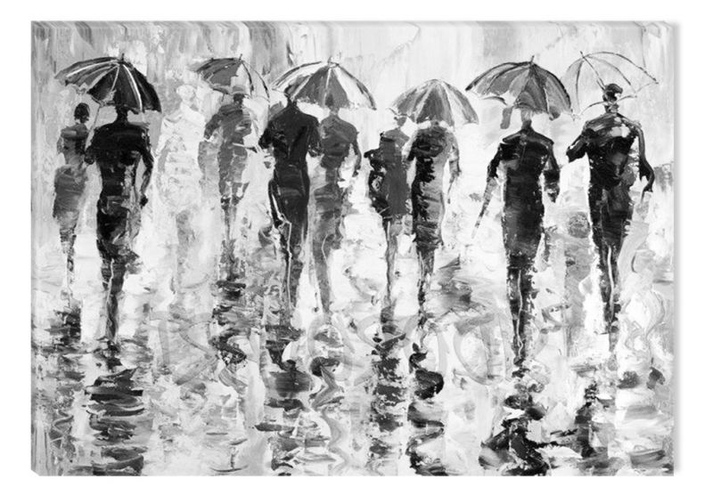 Black And White Abstract Canvas Wall Art Modern Rainy Weather Eco Light 80 X 120 Cm