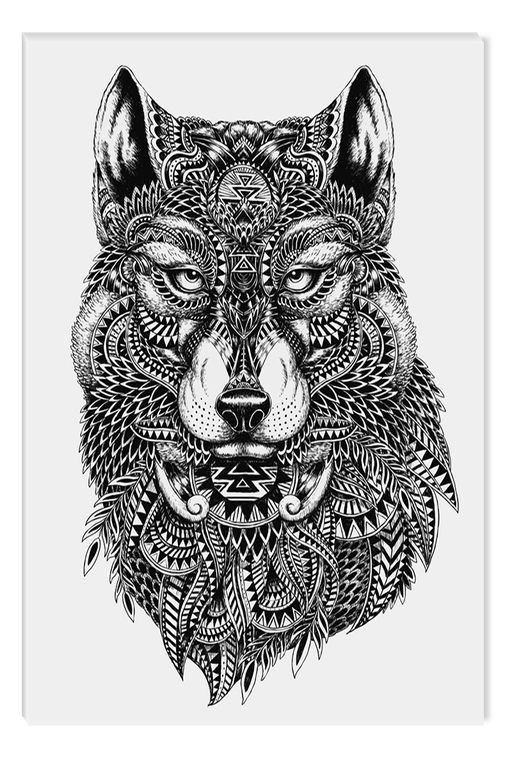 Black And White Abstract Canvas Wall Art A Wolf Eco Light 60 X 90 Cm